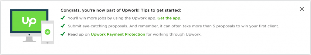upwork profile approved
