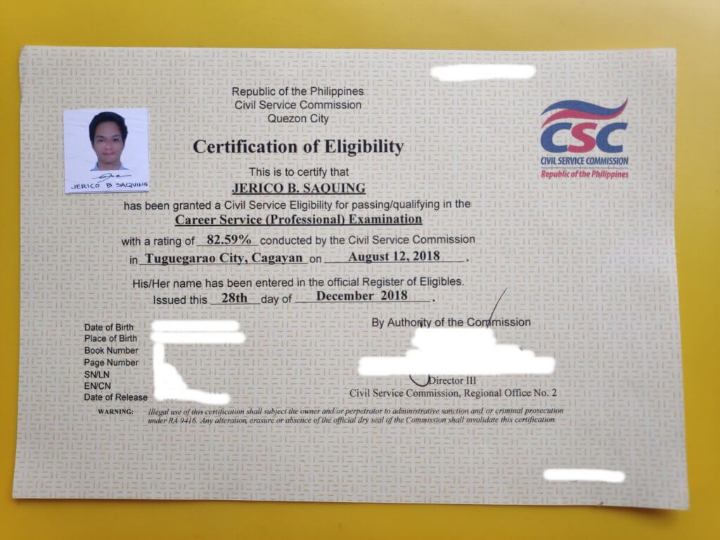 Civil service exam certificate of eligibility